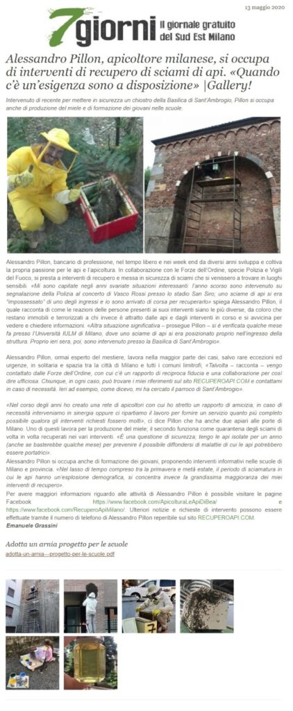 Giornali e Media 4 - recupero api milano